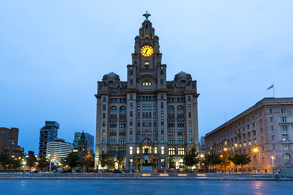The Liver Building on the River Mersey Waterfront during blue hour, UNESCO World Heritage Site, Liverpool, Merseyside, England, United Kingdom, Europe