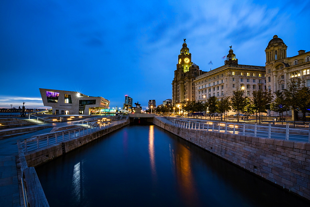 Pier Head and the Liver Building on the River Mersey Waterfront during blue hour, UNESCO World Heritage Site, Liverpool, Merseyside, England, United Kingdom, Europe