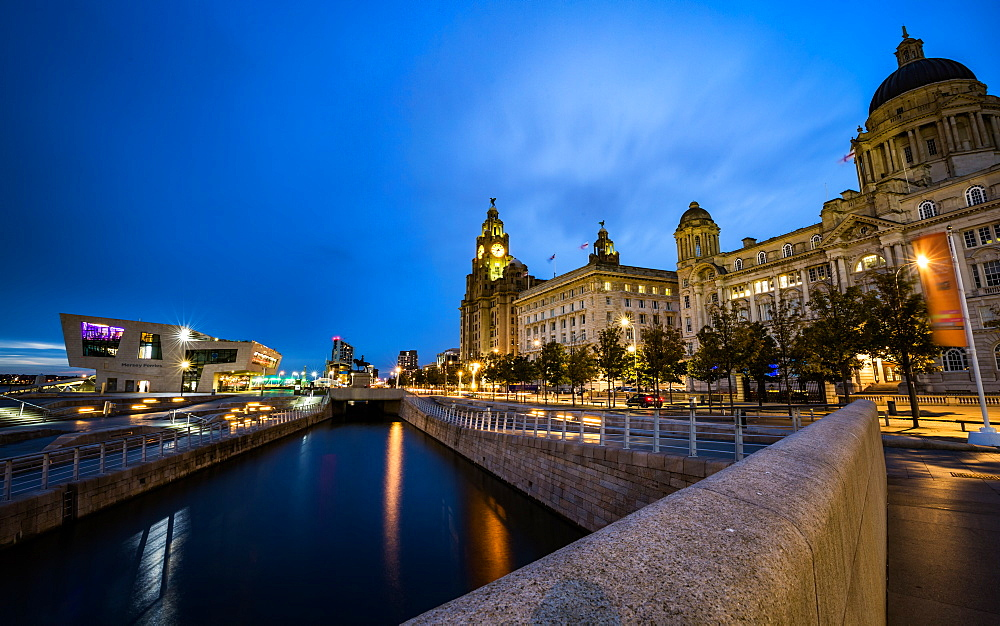 Pier Head and the Three Graces on the River Mersey Waterfront during blue hour, UNESCO World Heritage Site, Liverpool, Merseyside, England, United Kingdom, Europe