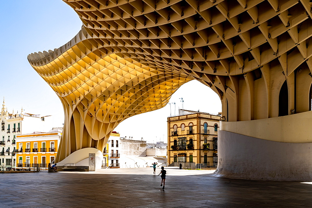 The Metropol Parasol, a wooden structure located at La Encarnación square, in the old quarter of Seville / Sevilla, Spain.