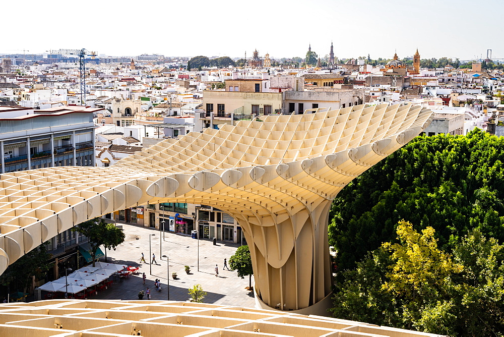 The elevated walking platform of Seville's Metropol Parasol in La Encarnacion Square, Seville, Andalusia, Spain, Europe