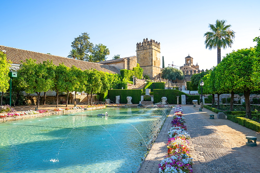 Lion Tower and a pond with fountains in the gardens of the Alcazar de Los Reyes Cristianos, UNESCO World Heritage Site, Cordoba, Andalusia, Spain, Europe