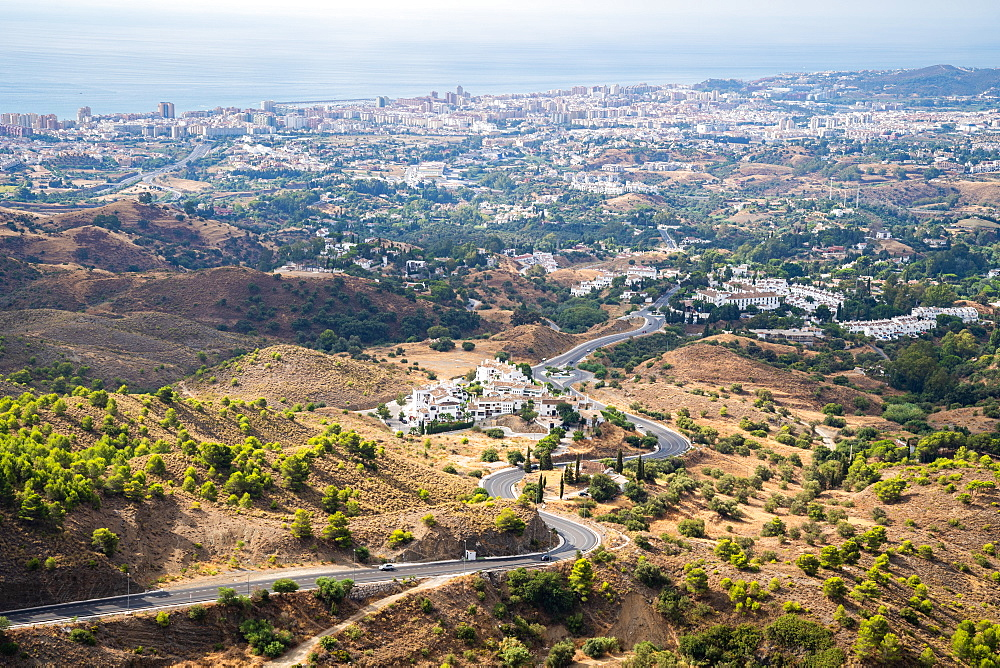The view towards Fuengirola, the Costa del Sol and Mediterranean sea from Mijas Pueblo, Andalusia, Spain