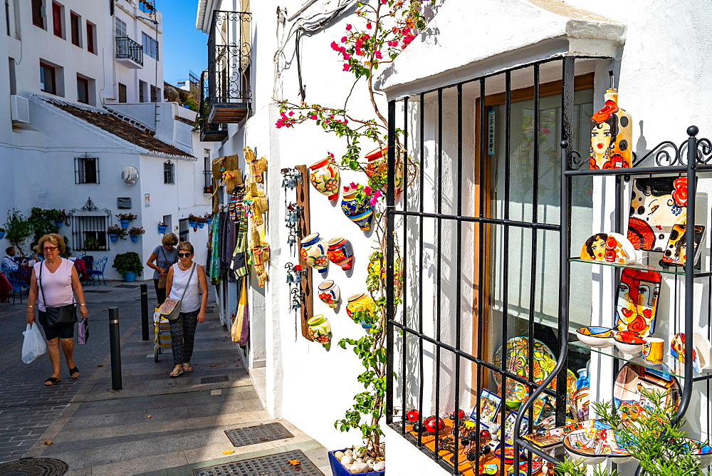 The outside of a quaint shop in the historic town of Mijas Pueblo, Costa del Sol, Andalusia, Spain