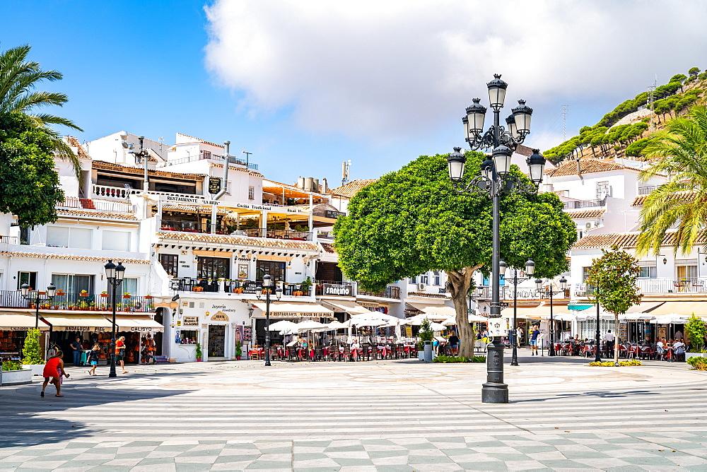 Plaza Virgen de la Pena, the main square in Mijas Pueblo, Andalusia, Spain, Europe