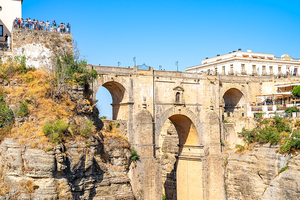 Puente Nuevo, New Bridge, is the tallest of the three bridges in Ronda crossing the Guadalevín River. Andalusia, Spain - 1263-265