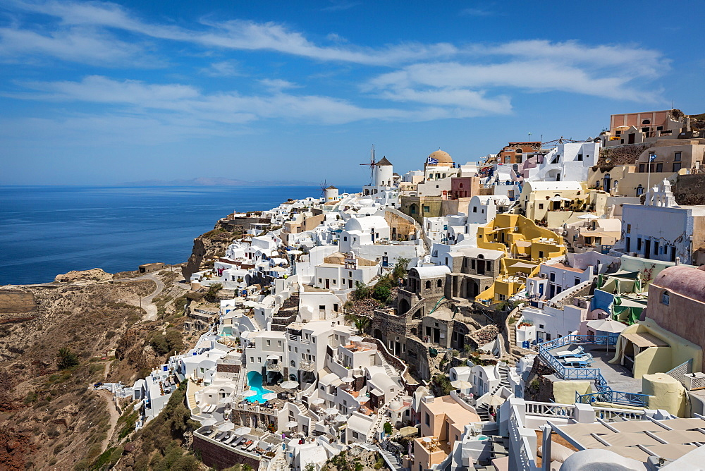 Day time view over the whitewashed buildings and windmill of Oia from the castle walls, Santorini, Cyclades, Greek Islands, Greece, Europe - 1263-35