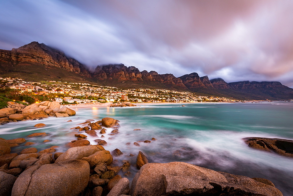 Long exposure at sunset at Camps Bay with cloud over Table Mountain and the Twelve Apostles, Cape Town, South Africa, Africa - 1263-56