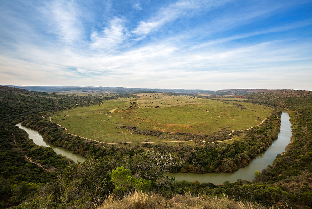 The plains of the Amakhala Game Reserve surrounded by the Bushmans River, Eastern Cape, South Africa, Africa - 1263-77