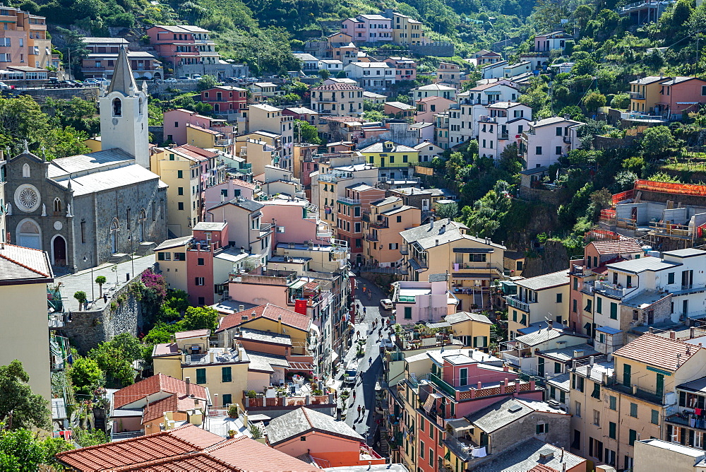 The main street in Riomaggiore, Cinque Terre, UNESCO World Heritage Site, Liguria, Italy, Europe - 1263-92