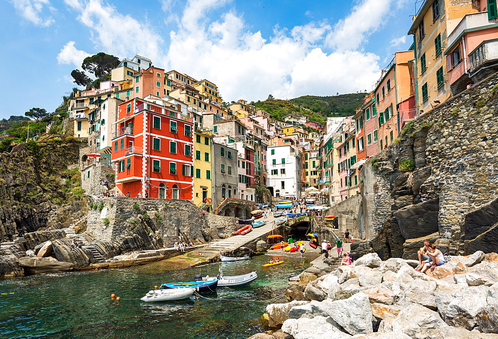 The colourful buildings and boats in Riomaggiore harbour, Cinque Terre, UNESCO World Heritage Site, Liguria, Italy, Europe - 1263-93