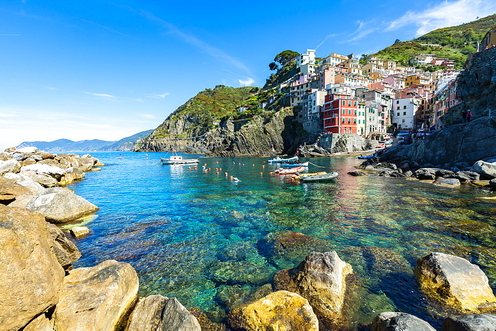 The colourful buildings and boats in Riomaggiore harbour, Cinque Terre, UNESCO World Heritage Site, Liguria, Italy, Europe - 1263-94
