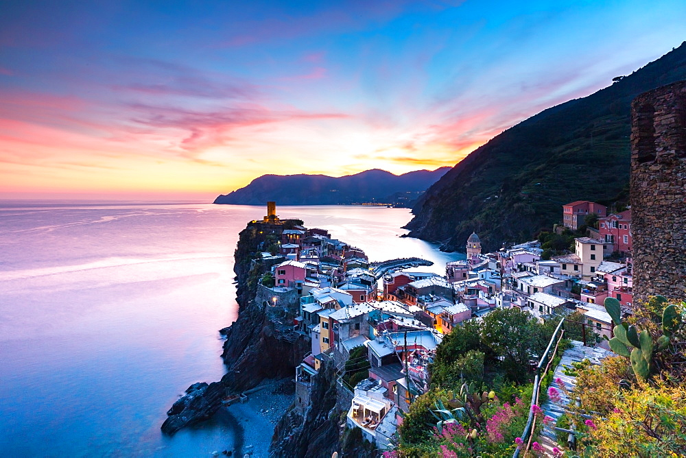 The remains of a stunning sunset over the old town and harbour of Vernazza, Cinque Terre, UNESCO World Heritage Site, Liguria, Italy, Europe - 1263-95