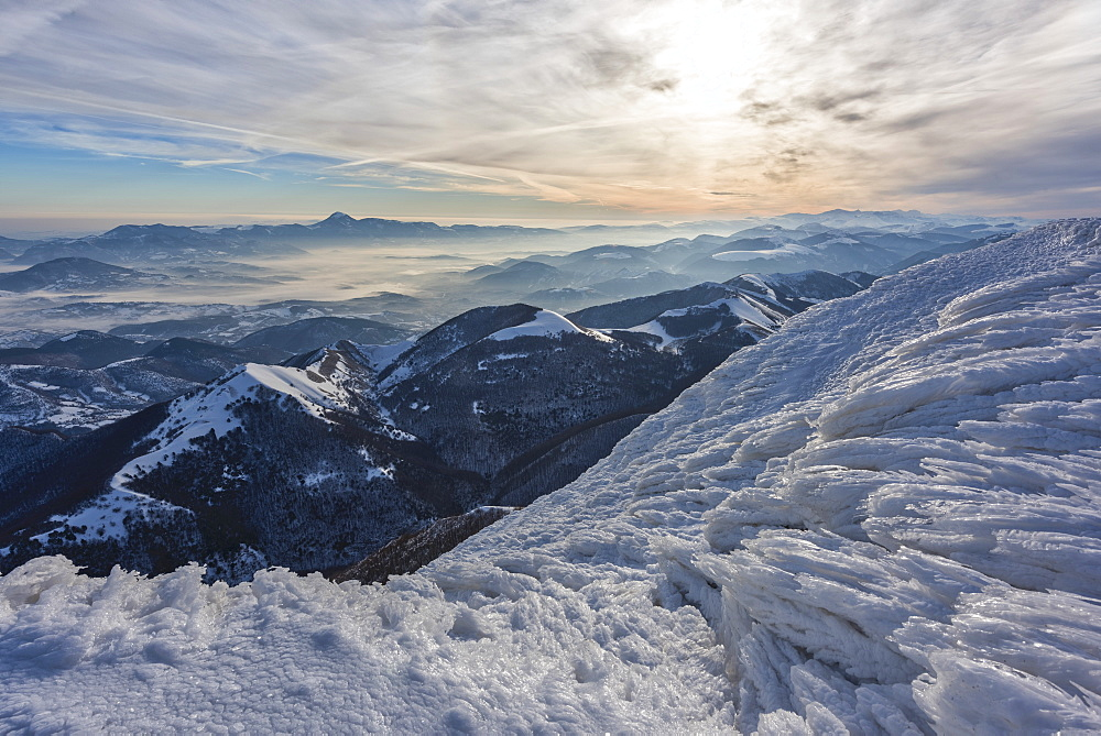 Monte Cucco Park, sunrise on Apennines in winter, Umbria, Italy, Europe - 1264-103