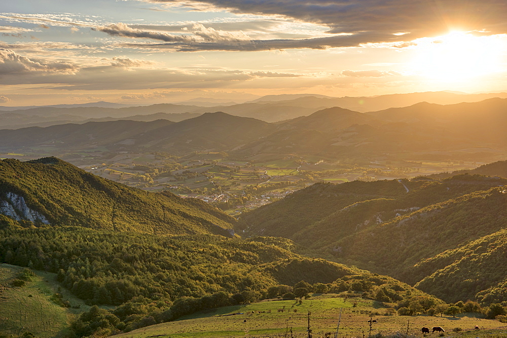 Apennines at sunset, Monte Cucco Park, Apennines, Umbria, Italy, Europe - 1264-110