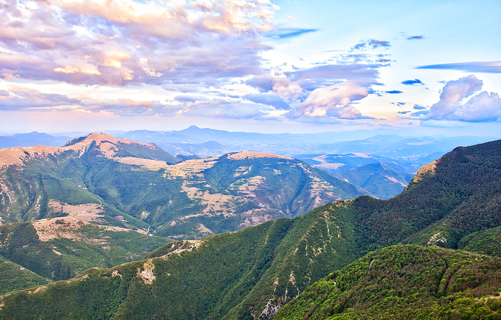 Apennines from the summit of Mount Catria at sunset, Marche, Italy, Europe - 1264-118