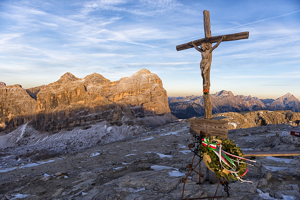 Summit Cross of Lagazuoi at sunset, Dolomites, Veneto, Italy, Europe - 1264-135