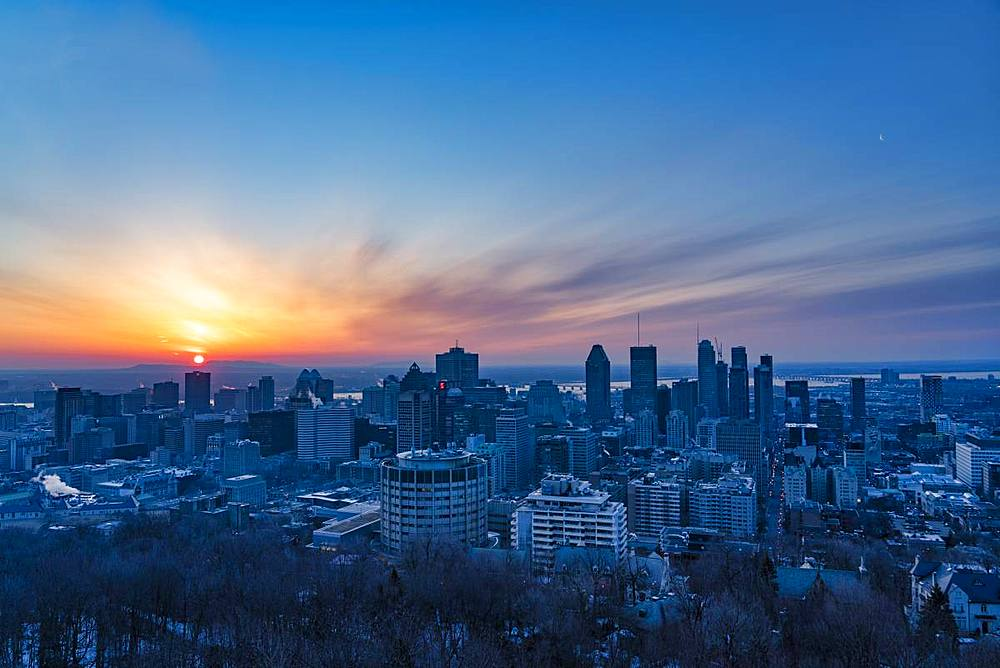 Sunrise over the city, Montreal, Quebec, Canada, North America - 1264-187
