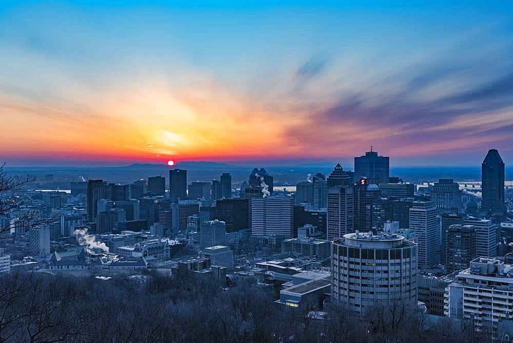 Sunrise over the city, Montreal, Quebec, Canada, North America