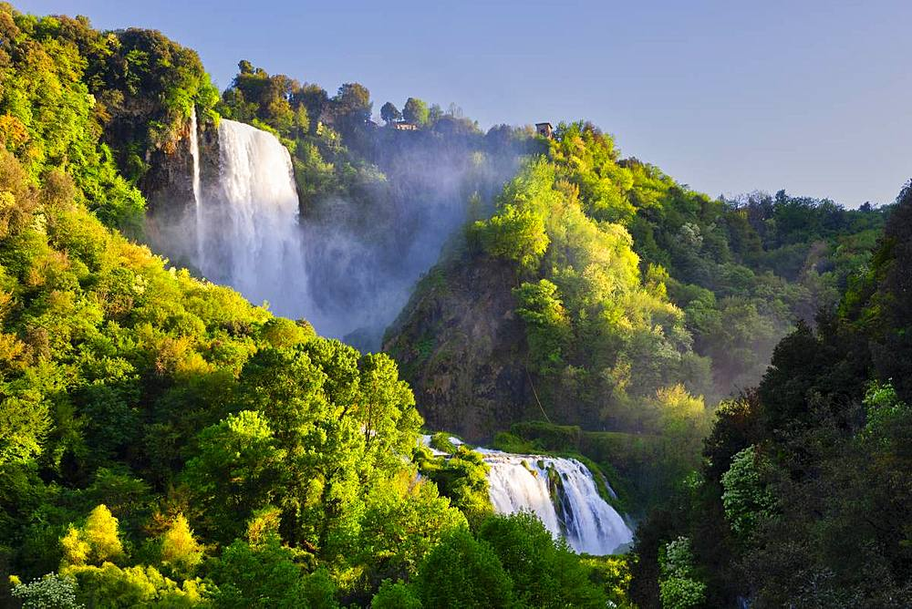 Marmore Waterfalls in spring, Marmore Waterfalls Park, Terni, Umbria, Italy, Europe