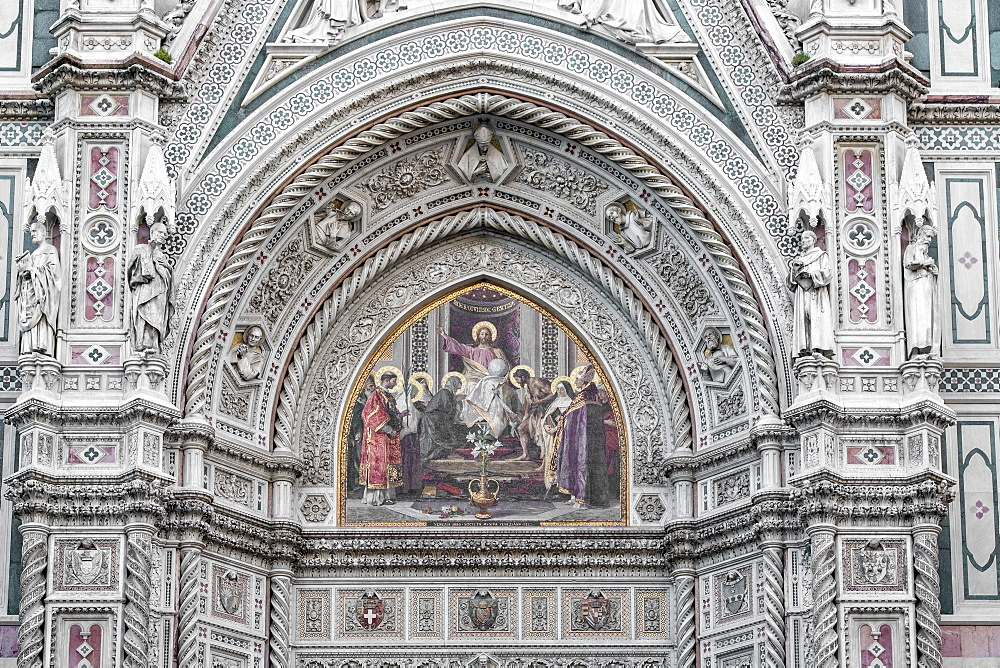 Detail of Santa Maria del Fiore cathedral at sunrise, UNESCO World Heritage Site, Florence, Tuscany, Italy, Europe