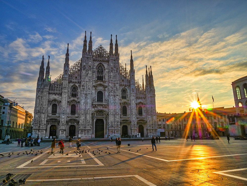 St. Mary of Nativity Cathedral (Duomo) at sunrise, Milan, Lombardy, Italy, Europe - 1264-237