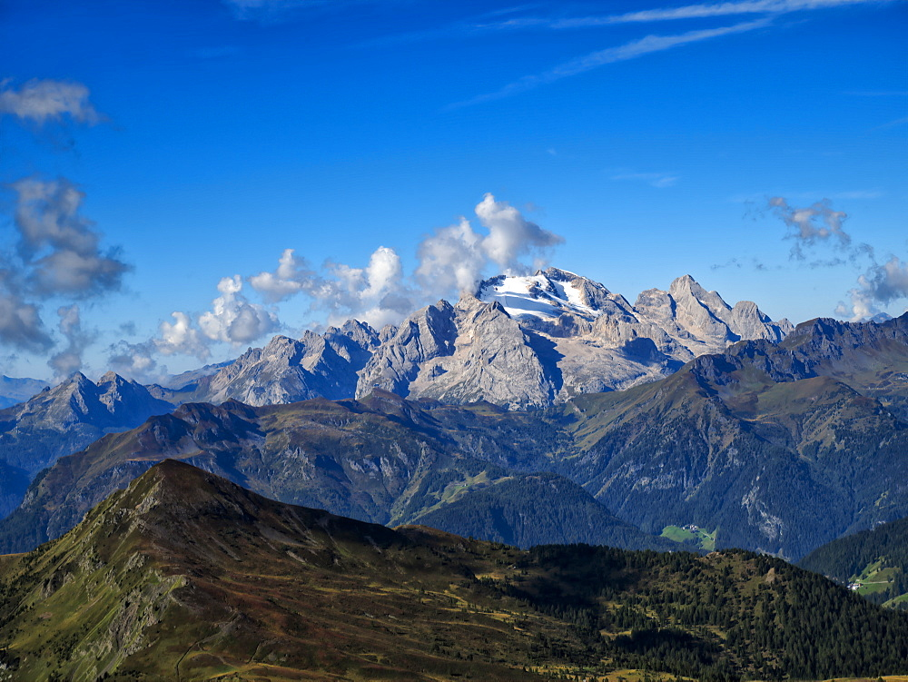 Giau Pass, Marmolada from the top of Mount Gusela, Dolomites, Veneto, Italy, Europe - 1264-254