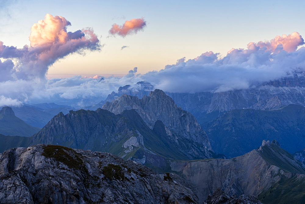 Alta Via Bepi Zac, sunset on Pale of San Martino, Dolomites, Veneto, Italy, Europe