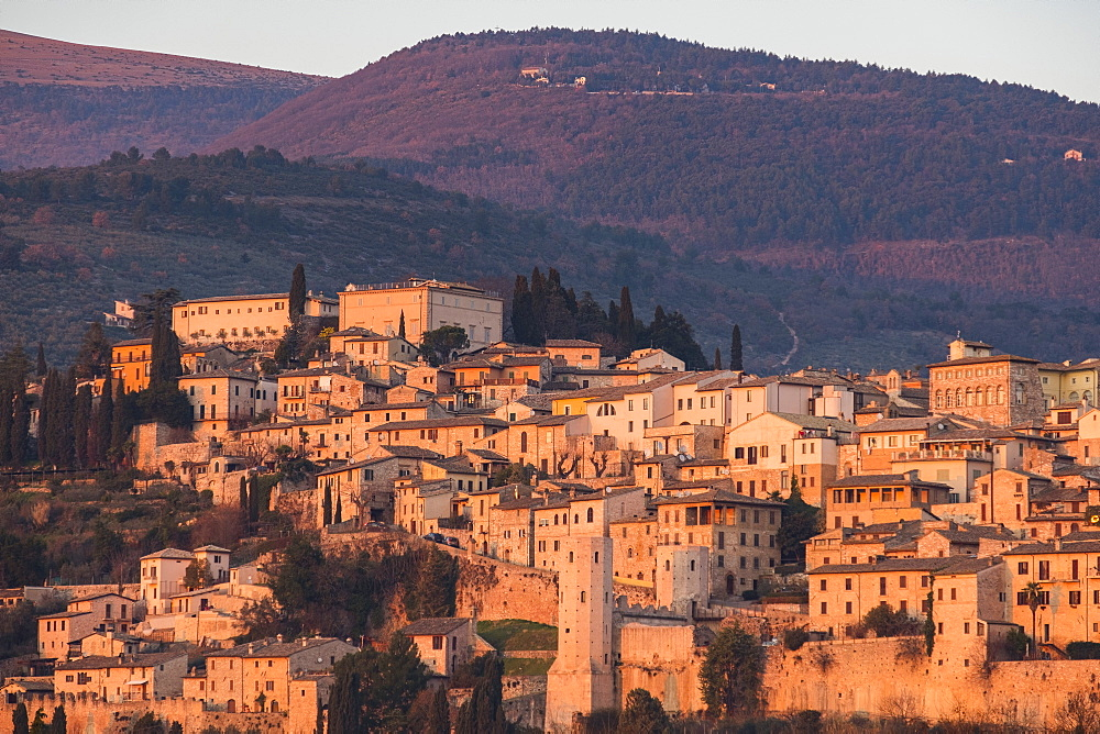 Sunset on the old town, Spello, Umbria, Italy, Europe - 1264-26
