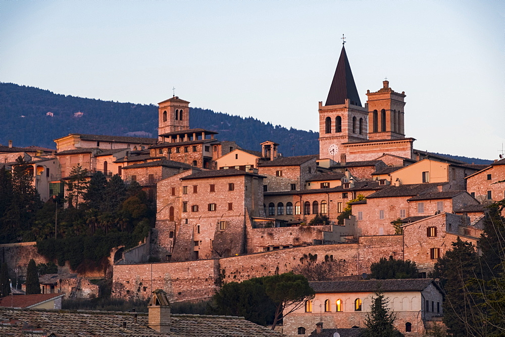 Italy, Umbria, Spello, Sunset on the old town