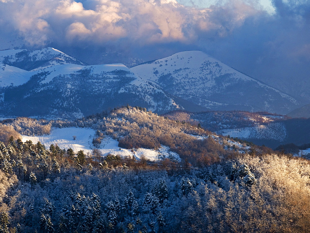 Italy, Umbria, Gubbio, Snow on the Apennines in Winter - 1264-275
