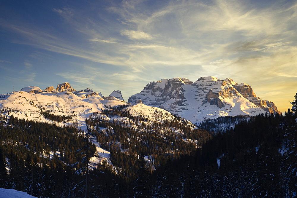 Italy, Dolomites, Trentino, Rendena Valley, Brenta mountain range at sunset in Winter