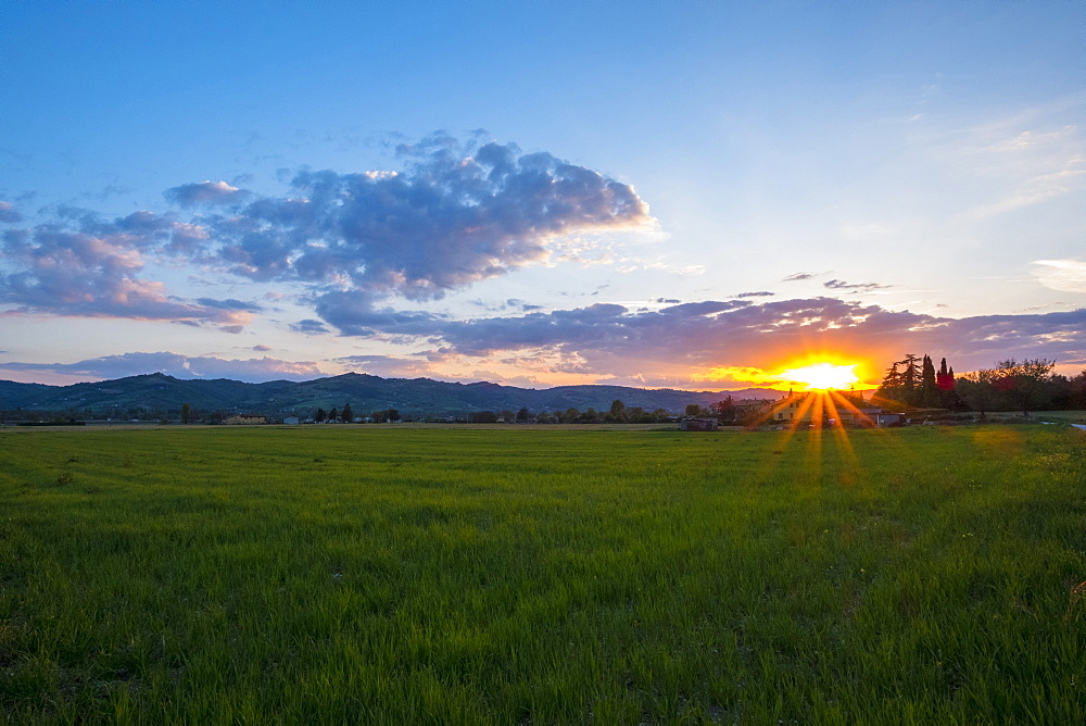 Sunset over fields, Gubbio, Umbria, Italy, Europe