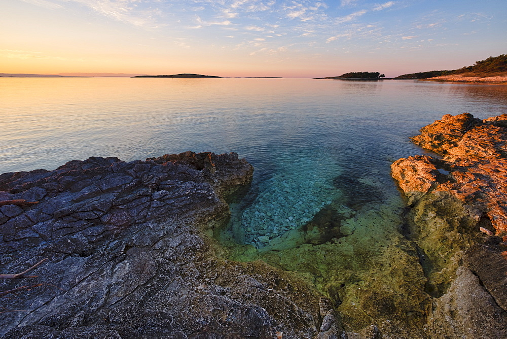 Croatia, Istria, Kamenjak National Park, Sunrise on the Adriatic Sea