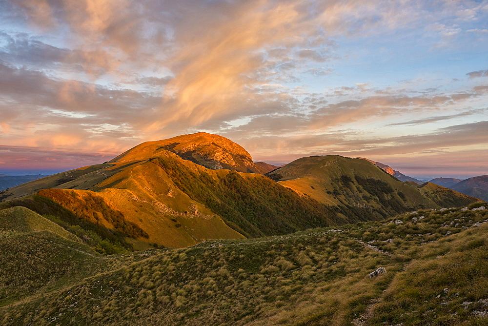 Mount Cucco at sunrise in autumn, Umbria, Apennines, Italy, Europe