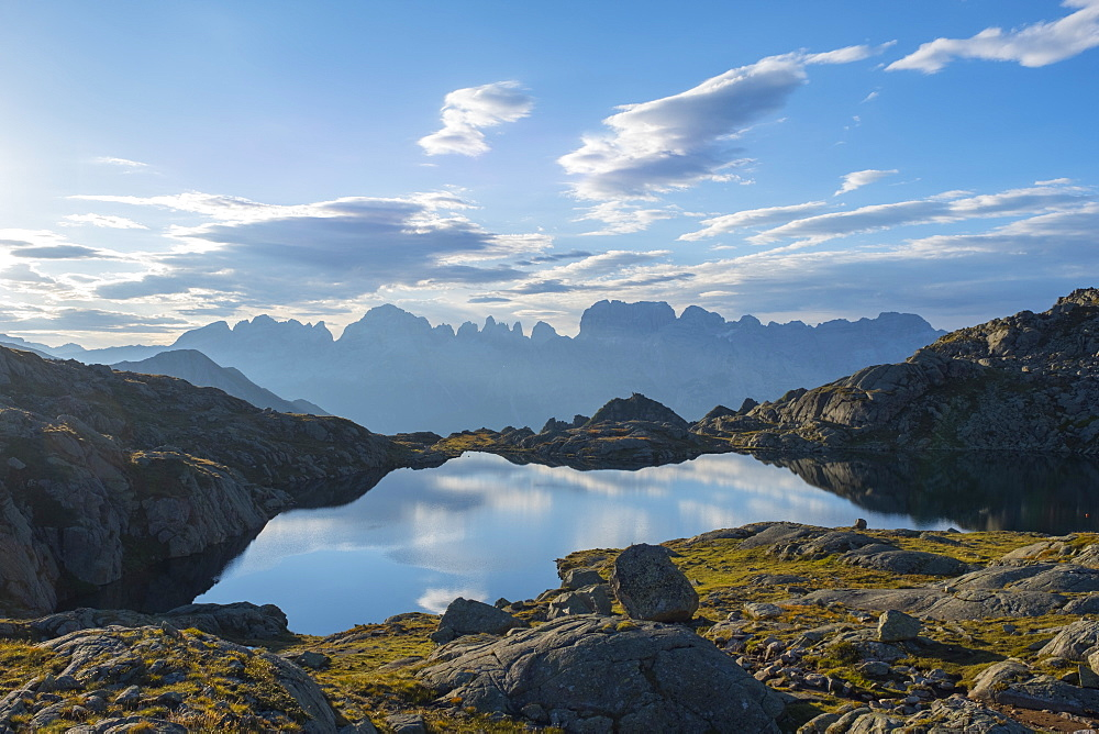 Lake Nero and Brenta mountain range at sunrise, Rendena Valley, Trentino, Italy, Europe - 1264-91