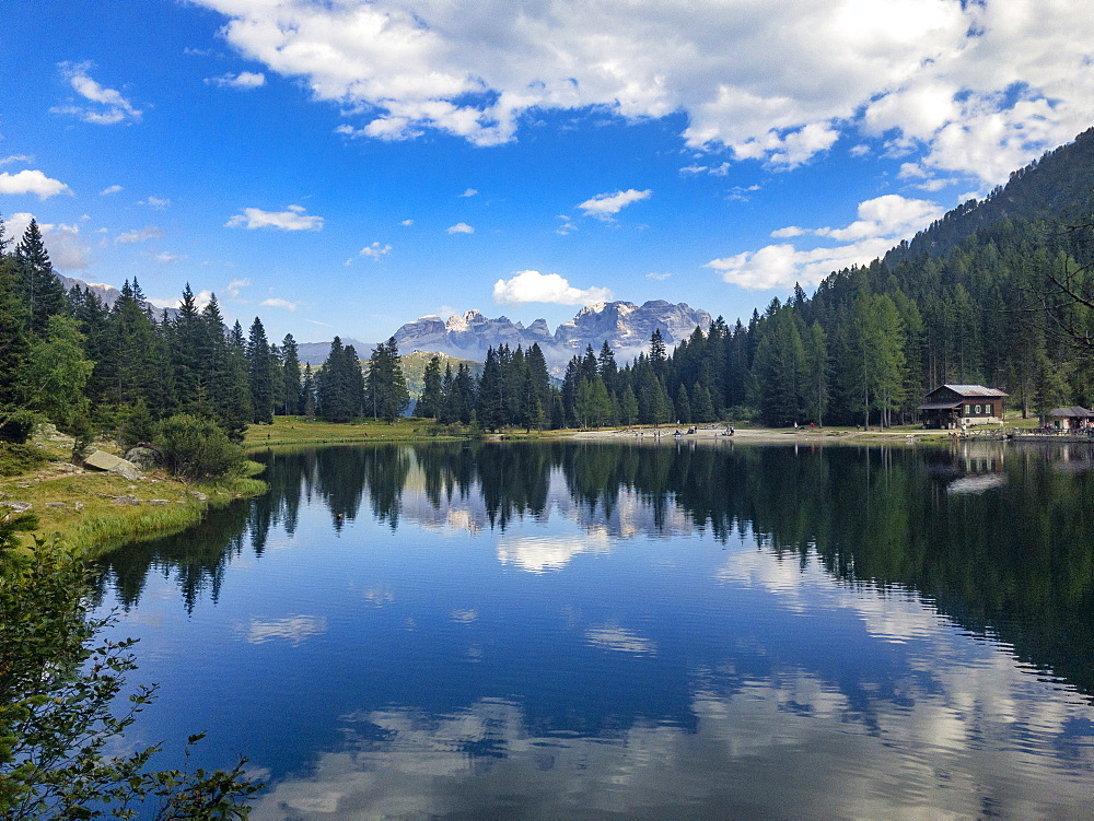 Reflections, Lake Nambino and Brenta mountain range, Rendena Valley, Trentino, Italy, Europe - 1264-95