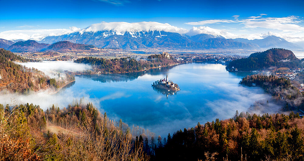 Panorama of Lake Bled in the Julian Alps of the Upper Carniolan region of northwestern Slovenia - 1265-151