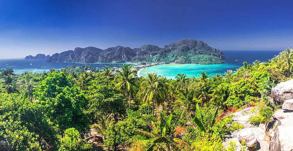 Panorama of Ko Phi Phi Don, beautiful tropical island in Thailand, Southeast Asia, Asia