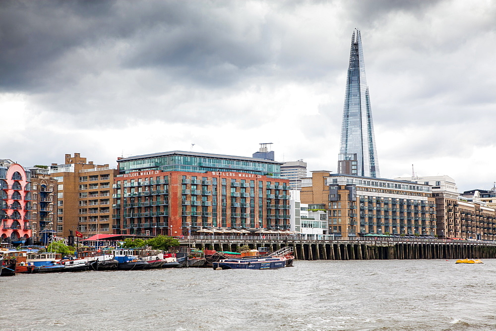 Butler's Wharf and the Shard seen from the River Thames, London, England, United Kingdom, Europe