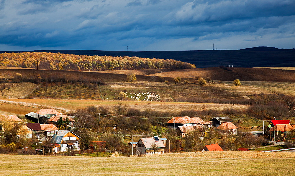 Savadisla Transylvanian village in autumn, Romania, Europe - 1265-43