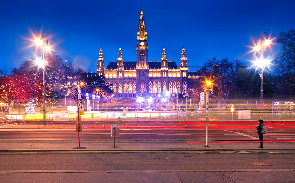Rathaus Vienna at night, Vienna, Austria, Europe