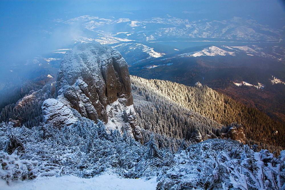 Foggy winter landscape in Ceahlaul Massif, Romania, Europe - 1265-7