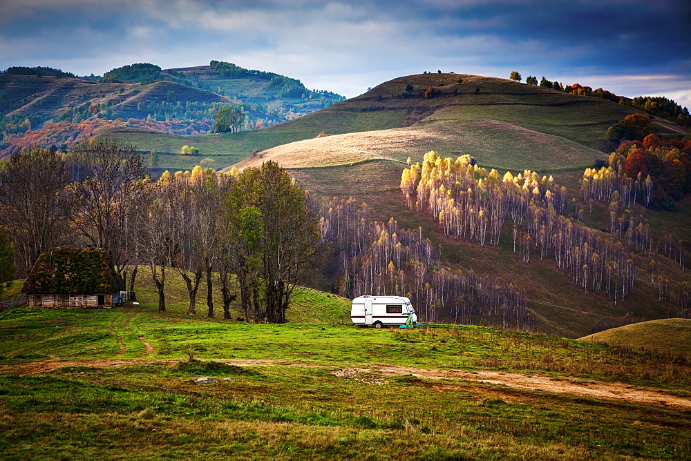 Caravan in autumn landscape, Apuseni mountains, Romania, Europe - 1265-8