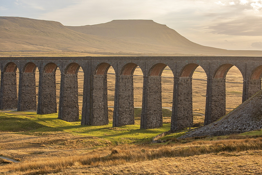 View to Ingleborough and the arches of Ribblehead Viaduct on the Settle to Carlisle railway line, Yorkshire Dales, North Yorkshire, England, United Kingdom, Europe - 1266-166