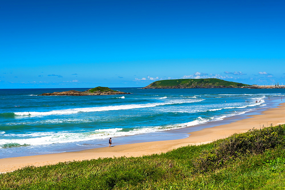 Muttonbird and Little Muttonbird islands seen from Coffs Harbour beach, New South Wales, Australia, Pacific