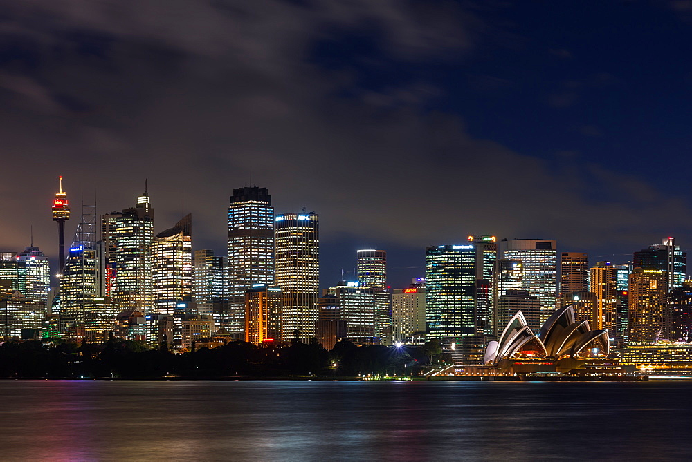Panoramic views of Sydney city at dusk including the Opera house, Sydney, New South Wales, Australia, Pacific