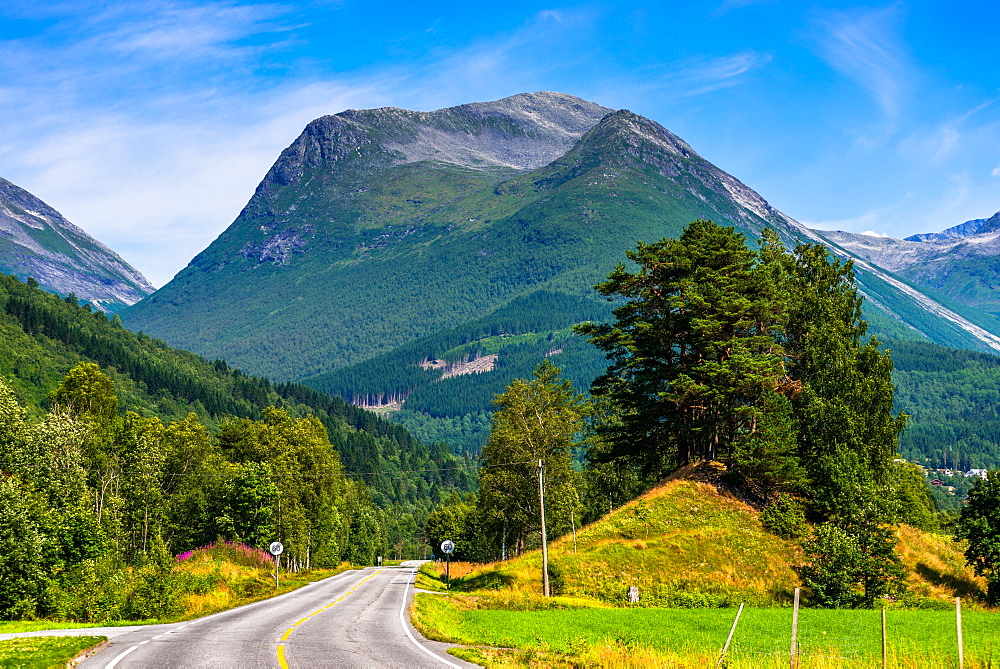 Road out of Olden to the mountains, Fjordane county, Norway, Scandinavia. - 1267-221