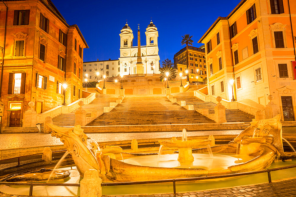 Fontana della Barcaccia in front of the Spanish Steps at Piazza di Spagna at dawn, Rome, Lazio, Italy, Europe - 1267-253