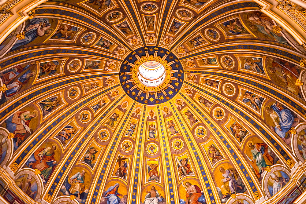 St. Peter's Basilica Cupola ceiling, Vatican City, Rome, Lazio, Italy, Europe